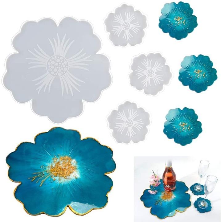 Kit Moldes Bandeja y Posavasos de Flores Irregulares