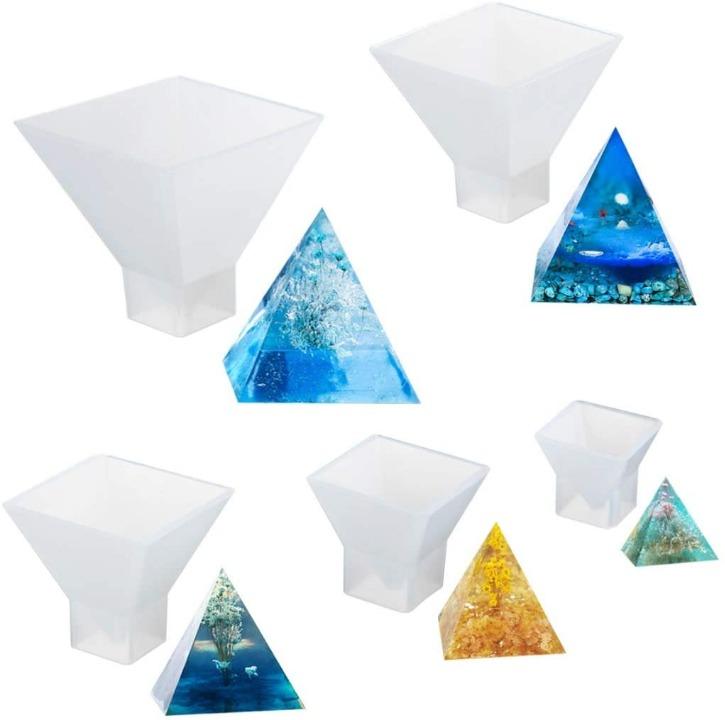 Kit Moldes para Resina 5 Pzas con forma de Pirámides