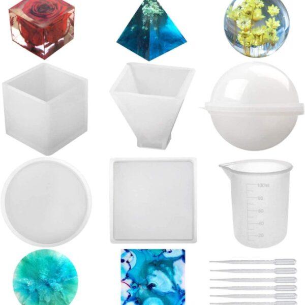 Kit Moldes para Resina (Esfera, Cubo, Pirámide, Cuadrado, Redondo)